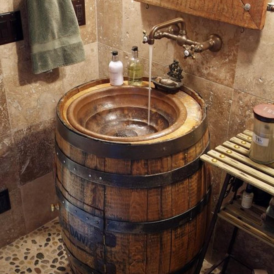 Rustic Bathroom With Wooden Barrel