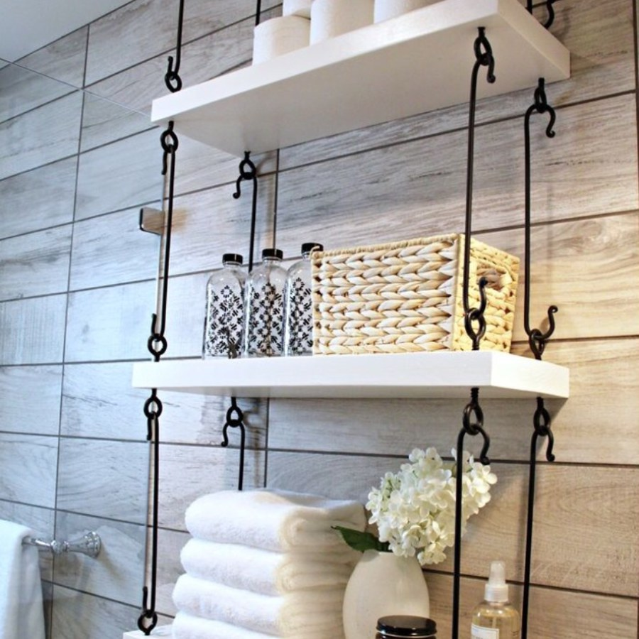 Bathroom Hanging White Shelves