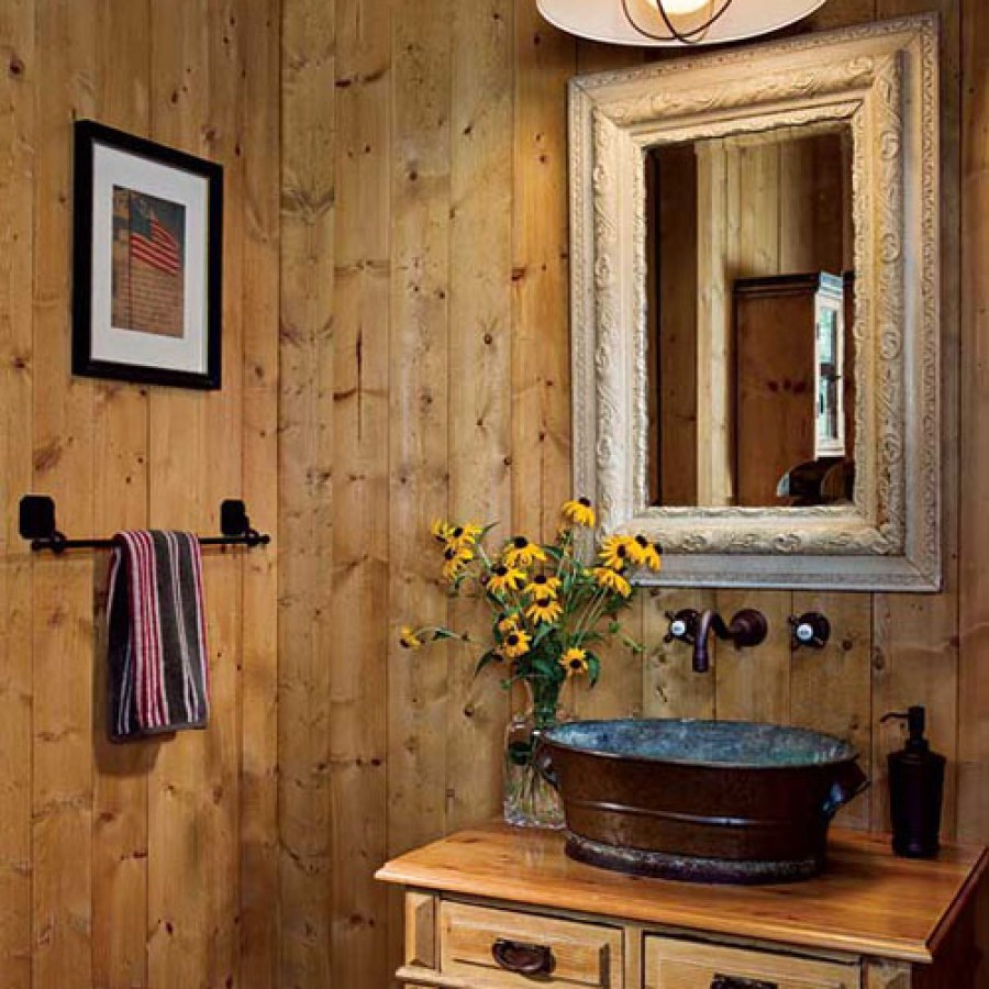 Rustic Bathroom With Metal Sink
