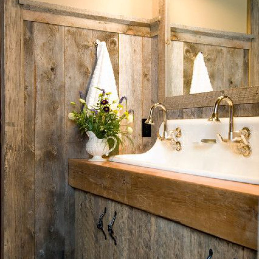 Rustic Bathroom With Wooden Sink Table