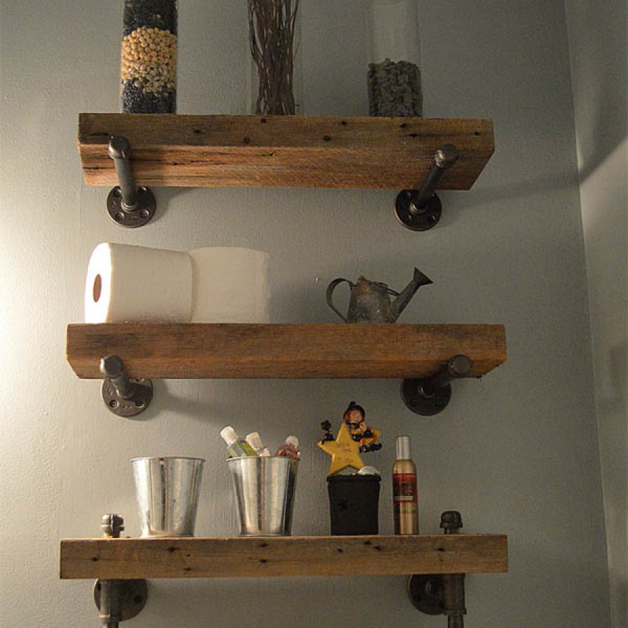 Wooden Bathroom Shelves