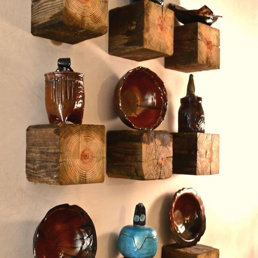 Rustic Wooden Shelves With Ceramic Decor