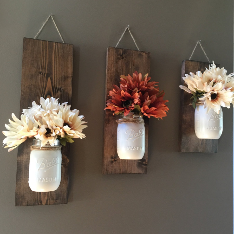 Rustic Wooden Wall Flower Decor