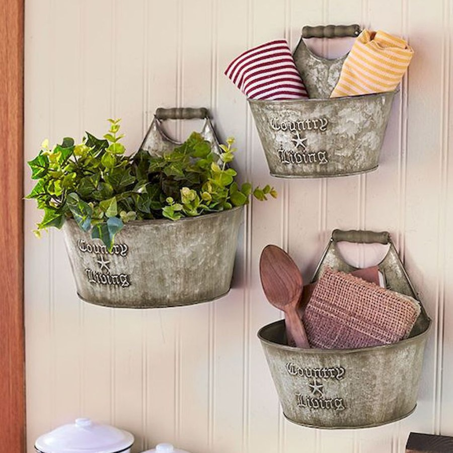 Rustic Tin Bucket Wall Decor