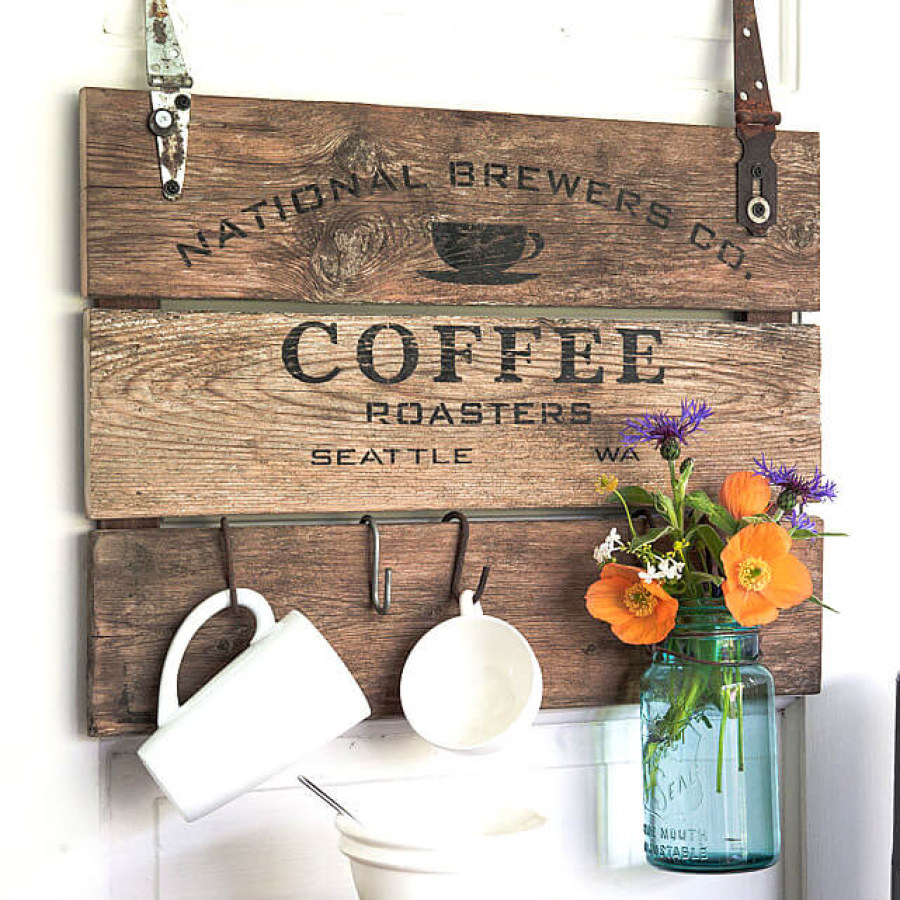 Rustic Wooden Coffee Station