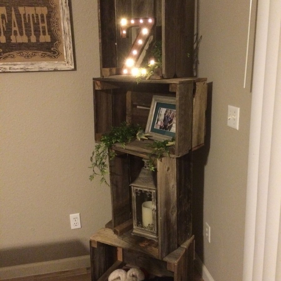 Rustic Wooden Corner Shelf